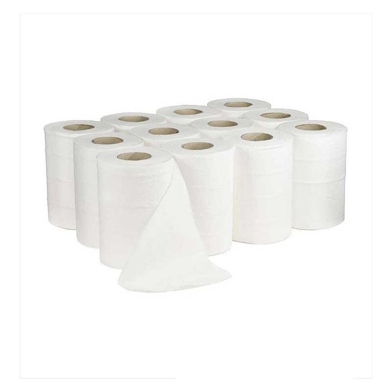 1Ply 130m Mini White Centre Feed Kitchen Roll (12)