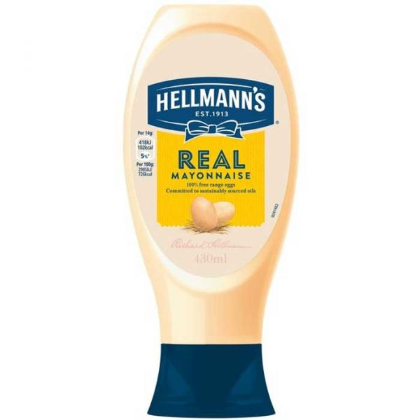Hellmans Squeezy Mayonnaise (8x430ml)