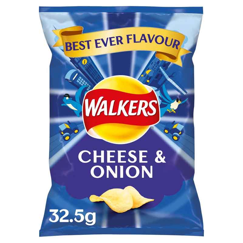 Walkers Cheese & Onion Crisps (32×32.5g)