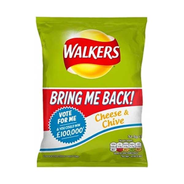 Walkers Cheese & Chive Crisps (48×32.5g)