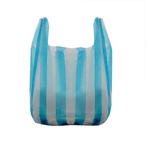 Economy Striped Plastic Carrier Bags (100)