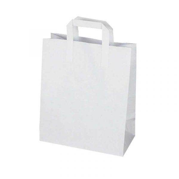 Medium White Paper Carrier Bag 25x24cm (250)