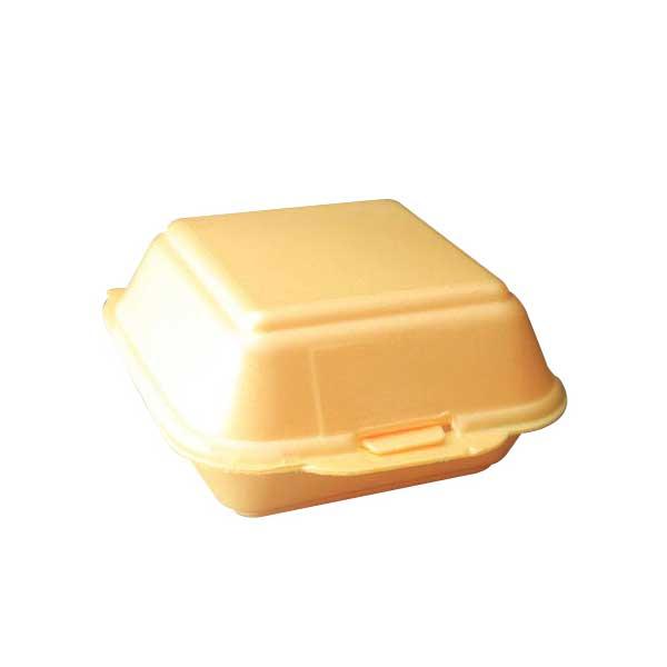 Single Polystyrene Burger Box & Lid 9cm D x 9cm H x 7cm W (125)