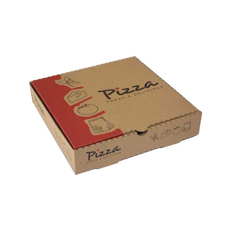 10″ Printed Brown Pizza Box (100)
