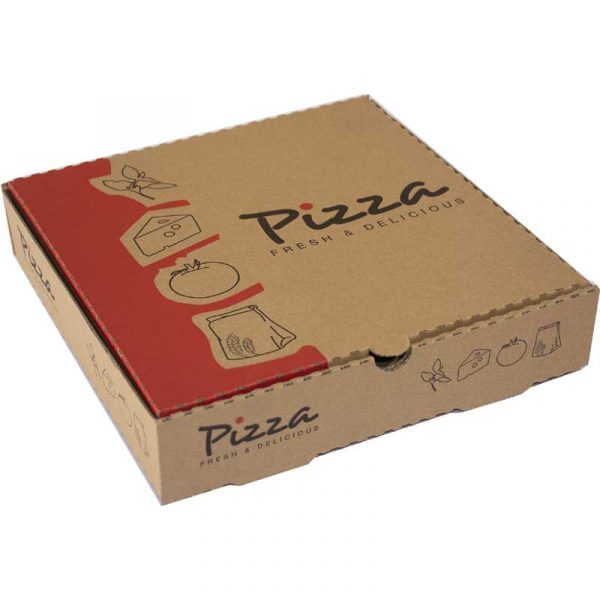 12″ Printed Brown Pizza Box (100)
