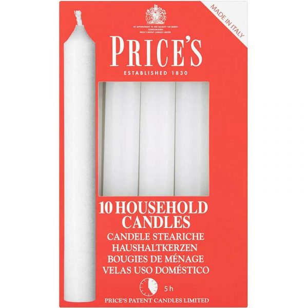 White 10″ Household Candles (20)