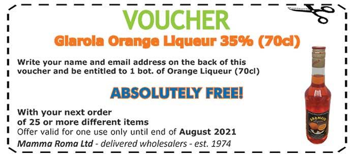 Giarola Orange Italian Liqueuer 35% free this month from Mamma Roma