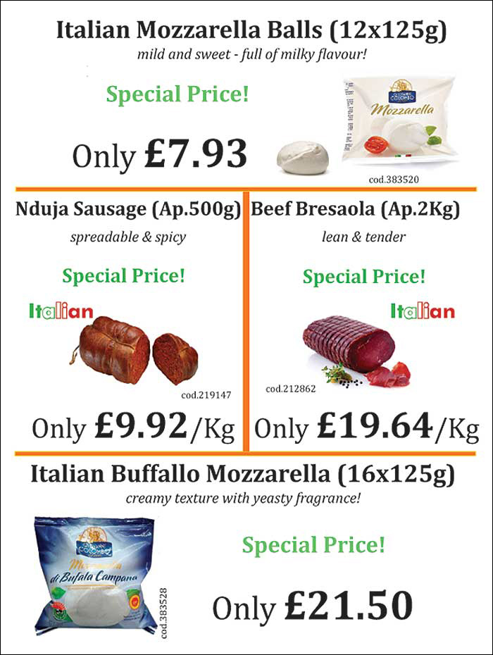 Italian Mozzarella and Ndua Sausage special price for restaurants and cafes.