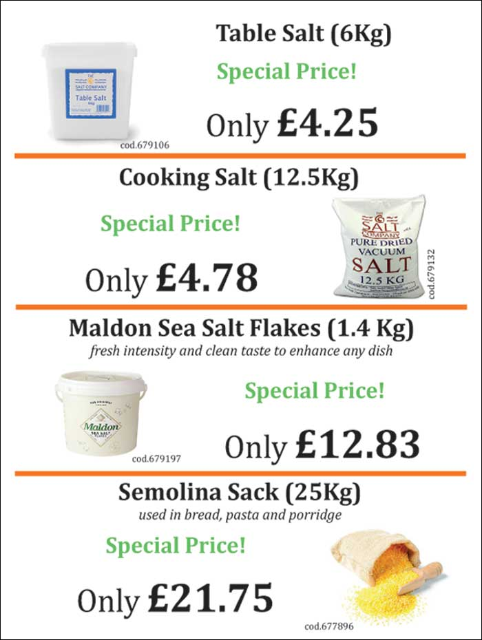 Table and cooking salt catering size and bulk for restaurants and cafes.