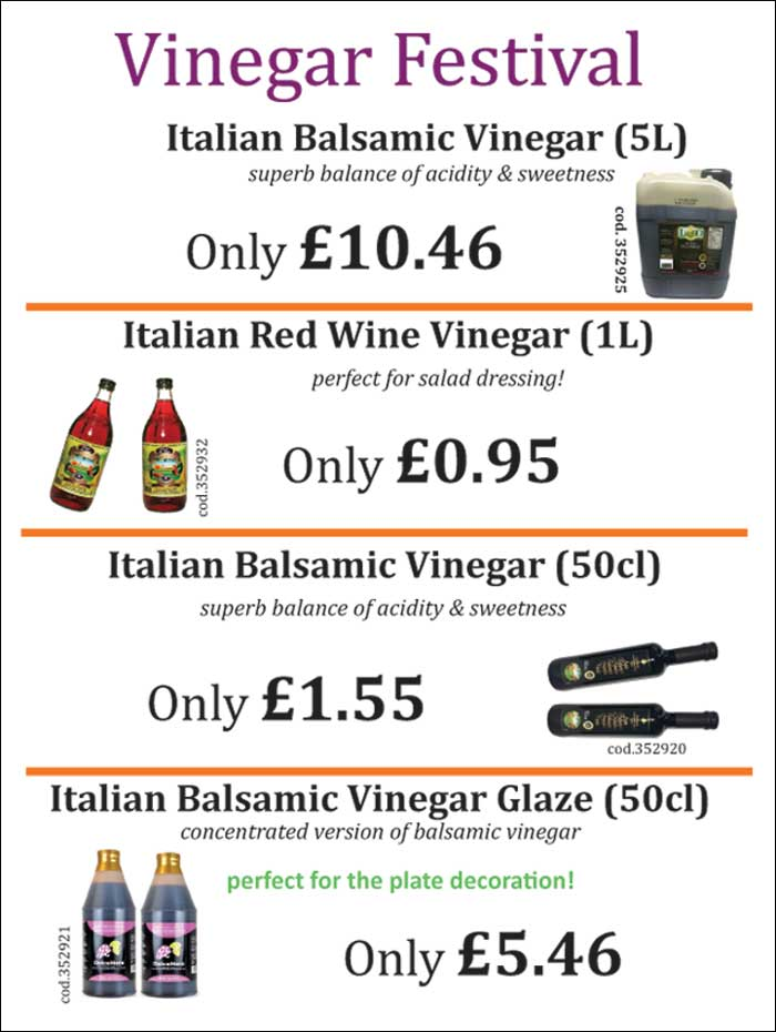 Italian Balsamic Vinegar and Red Wine Vinegar large size for restaurants.