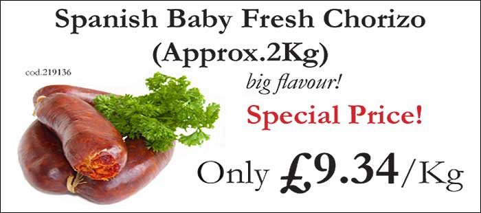 Spanish Baby Fresh Chorizo Sausage 2Kg Special Price