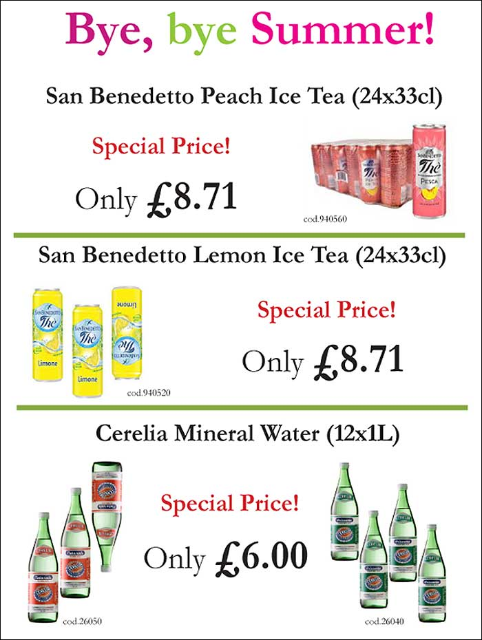 San Benedetto offer from Mamma Roma Ltd wholesale delivery to the catering trade