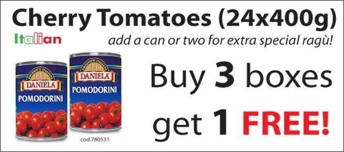 Cherry Tomatoes 24x400g - Buy 3 boxes get 1 FREE! Only from Mamma Roma Ltd