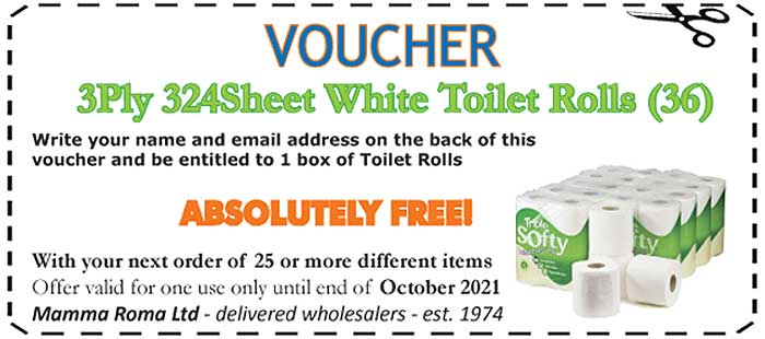 3ply White Toilet Rolls 36 rolls FREE with your next order - Mamma Roma Ltd