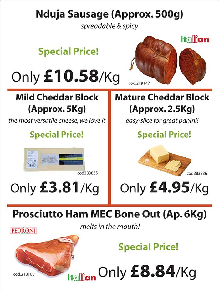 Italian deli meats and cheese from Mamma Roma Ltd - catering suppliers to restaurants and hotels